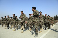 In this Jan. 18, 2021 file photo, newly graduated Afghan National Army troops march during their graduation ceremony after a three-month training program at the Afghan Military Academy in Kabul, Afghanistan. (AP Photo/Rahmat Gul)