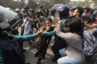 Bangladeshi students clash with police during a protest in Dhaka, Bangladesh, Monday, March 1, 2021. (AP Photo/Mahmud Hossain Opu)