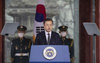 South Korean President Moon Jae-in speaks during a ceremony to mark the March First Independence Movement Day, the anniversary of the 1919 uprising against Japanese colonial rule in Seoul, South Korea, Monday, March 1, 2021. (Jewon Heon-kyun/Pool Photo via AP)
