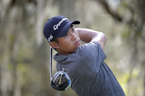 Collin Morikawa watches his tee shot on the ninth hole during the final round of the Workday Championship golf tournament, on Feb. 28, 2021, in Bradenton, Fla. (AP Photo/Phelan M. Ebenhack)