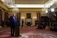 In this Feb. 4, 2021, file photo, President Joe Biden speaks about foreign policy, at the State Department in Washington. (AP Photo/Evan Vucci)
