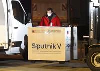 Russia's Sputnik V coronavirus vaccine arrives at Kosice Airport, Slovakia, on March 1, 2021. Hard-hit Slovakia signed a deal to acquire 2 million doses of Russia's Sputnik V coronavirus vaccine. (Frantisek Ivan/TASR via AP)