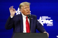 In this Feb. 28, 2021, photo, former President Donald Trump speaks at the Conservative Political Action Conference (CPAC) in Orlando, Fla. (AP Photo/John Raoux)