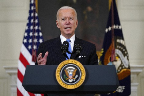 President Joe Biden speaks about efforts to combat COVID-19, in the State Dining Room of the White House, on March 2, 2021, in Washington. (AP Photo/Evan Vucci)