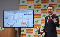 Mie Gov. Eikei Suzuki explains the information service system on side effects to coronavirus vaccines, at the Mie Prefectural Government building on March 3, 2021. The system was developed by the National Mie Hospital in Tsu, Mie Prefecture. (Mainichi/Ayaka Morita)