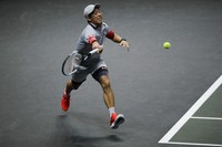 Japan's Kei Nishikori plays a shot against Australia's Alex De Minaur in their second round men's singles match of the ABN AMRO world tennis tournament at Ahoy Arena in Rotterdam, Netherlands, on March 3, 2021. (AP Photo/Peter Dejong)