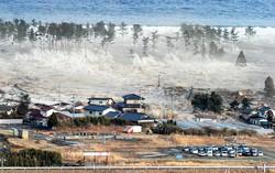 沿岸の防風林を越えて押し寄せ、住宅などを一気にのみ込む大津波
