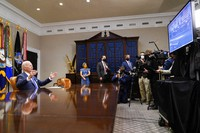 President Joe Biden congratulates NASA's Jet Propulsion Laboratory Mars 2020 Perseverance team for successfully landing on Mars during a virtual call in the Roosevelt Room at the White House, on March 4, 2021. (AP Photo/Andrew Harnik)