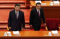 Chinese President Xi Jinping, left, and Premier Li Keqiang arrive for the opening session of Chinese People's Political Consultative Conference at the Great Hall of the People in Beijing, on March 4, 2021. (AP Photo/Andy Wong)