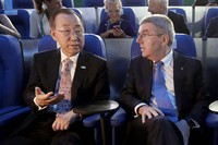 In this Aug. 5, 2016 file photo, then U.N. Secretary-General Ban Ki-moon, left, talks with International Olympic Committee President Thomas Bach in Maracana Stadium before the opening ceremony for the 2016 Summer Olympics in Rio de Janeiro, Brazil. (AP Photo/Mark Humphrey, Pool)