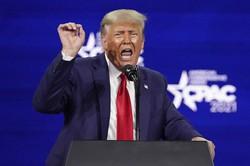 保守系の団体が集まるCPACで退任後初の演説をするトランプ氏=米南部フロリダ州オーランドで2021年2月28日、AP