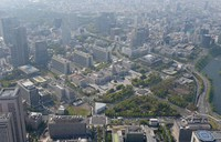 The Nagatacho district of Tokyo, where the National Diet building is located, is captured in this file photo taken from a Mainichi Shimbun helicopter. (Mainichi/Tatsuya Fujii)