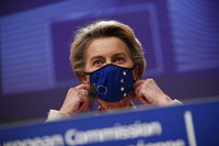 In this Dec. 24, 2020 file photo, European Commission President Ursula von der Leyen prepares to address a media conference at the EU headquarters in Brussels. (AP Photo/Francisco Seco)