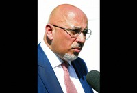 In this July 24, 2019 file photo, Britain's Conservative Party Member of Parliament Nadhim Zahawi is interviewed by the media at the College Green, in central London. (AP Photo/Vudi Xhymshiti)