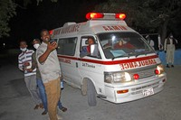 An ambulance carrying wounded from a blast at a popular restaurant arrives a hospital in the capital Mogadishu, Somalia, on March 5, 2021. (AP Photo/Farah Abdi Warsameh)