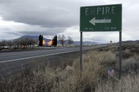 A sign points to the town of Empire, Nevada off the highway leading to Gerlach and the Black Rock Desert in this photo taken in 2010. (David B. Parker/The Reno Gazette-Journal via AP)