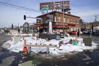 George Floyd Square is shown on Feb. 8, 2021, in Minneapolis. (AP Photo/Jim Mone)