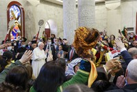 Pope Francis arrives at a meeting with the Qaraqosh community at the Church of the Immaculate Conception, in Qaraqosh, Iraq, Sunday, March 7, 2021. (AP Photo/Andrew Medichini)