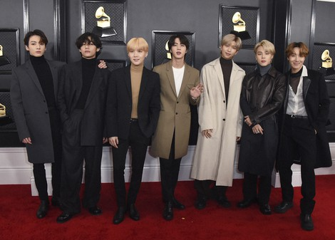 BTS arrives at the 62nd annual Grammy Awards in Los Angeles on Jan. 26, 2020. Strauss/Invision/AP, File)