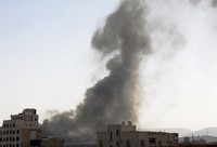 Smoke rises after Saudi-led airstrikes on an army base in Sanaa, Yemen, on Mar. 7, 2021. (AP Photo/Hani Mohammed)