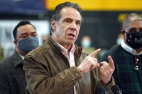 In this Feb. 22, 2021 file photo, New York Gov. Andrew Cuomo speaks during a news conference at a COVID-19 vaccination site in the Brooklyn borough of New York. (AP Photo/Seth Wenig, Pool)