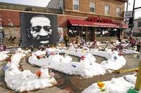 George Floyd Square is seen on Feb. 8, 2021, in Minneapolis. (AP Photo/Jim Mone)