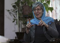Sima Samar, a prominent activist and physician, who has been fighting for women's rights in Afghanistan for the past 40 years, gives an interview to The Associated Press at her house in Kabul, Afghanistan, on March 6, 2021. (AP Photo/Rahmat Gul)