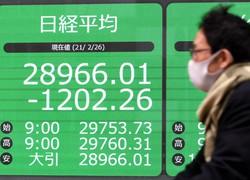前日比1200円を超える下げ幅となった日経平均株価の終値を表示する電光掲示板 東京・中央