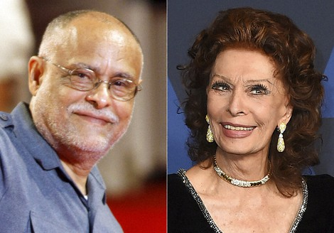 Director Haile Gerima appears at the 65th edition of the Venice Film Festival in Venice, Italy, on Sept. 2, 2008, left, and Sophia Loren arrives at the Governors Awards in Los Angeles on Oct. 27, 2019. (Photos by Andrew Medichini/AP, left, and Jordan Strauss/Invision/AP)