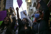 Protesters chant slogans during a rally to mark International Women's Day in Istanbul, on March 8, 2021. (AP Photo/Emrah Gurel)