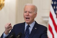President Joe Biden speaks in the State Dining Room of the White House, on March 6, 2021, in Washington. (AP Photo/Alex Brandon)