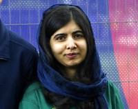 Malala Yousafzai, Pakistani Nobel Peace Prize winner, appears at the Cricket World Cup opening party along The Mall in London, on May 29, 2019. (AP Photo/Kirsty Wigglesworth)