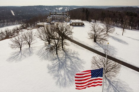 The Seven Springs, a property owned by former U.S. President Donald Trump, is covered in snow, on Feb. 23, 2021, in Mount Kisco, N.Y.  (AP Photo/John Minchillo)