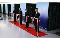 A tape cutting ceremony is held to mark the supercomputer Fugaku going into full operation in Kobe on March 9, 2021. (Mainichi/Yohei Koide)