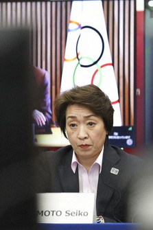 Seiko Hashimoto, president of the Tokyo Organizing Committee of the Olympic and Paralympic Games (Tokyo 2020), listens at a five-party meeting at the Tokyo 2020 headquarters in Tokyo on March 3, 2021. (Du Xiaoyi/Pool Photo via AP)