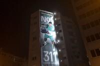 A billboard celebrating Novak Djokovic is displayed in Belgrade, Serbia, on March 8, 2021. (AP Photo/Marko Drobnjakovic)