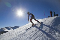 In this Nov. 7, 2013, file photo, Tommy Biesemeyer skis out of the high-speed training starting gate during a session of the U.S. Ski Team training center at Copper Mountain, Colo. (AP Photo/Nathan Bilow)
