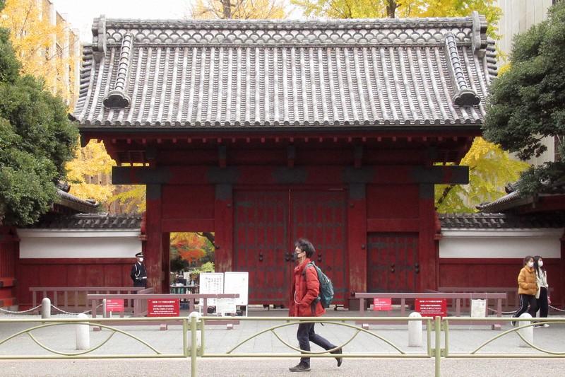 東京大赤門(本郷キャンパス)=東京都内で2020年12月9日、中村琢磨撮影