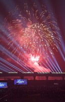 This photo shows the special bullet train casting light with fireworks overhead to commemorate the 10th anniversary of the Kyushu Shinkansen Line's full-scale opening on March 14, 2021 in Chikugo, Fukuoka Prefecture. (Mainichi/Minoru Kanazawa)