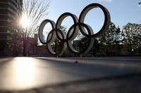 The Olympic rings are seen in Tokyo's Shinjuku Ward. (Mainichi/Masahiro Ogawa)