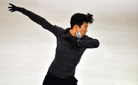 Nathan Chen of the USA performs during a practice session at the Figure Skating World Championships in Stockholm, Sweden, on March 23, 2021. (AP Photo/Martin Meissner)