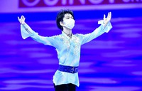 Yuzuru Hanyu of Japan is seen after winning the bronze medal following the men's free skate program at the World Figure Skating Championships in Stockholm, Sweden, on March 27, 2021. (AP Photo/Martin Meissner)