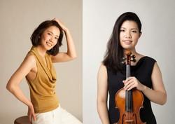 バイオリンの北川千紗(右)とビアノの鈴木華重子(左)