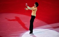 Yuzuru Hanyu of Japan performs during the Gala Exhibition at the Figure Skating World Championships in Stockholm, Sweden, on March 28, 2021. (AP Photo/Martin Meissner)