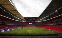 A view of an empty stadium before the World Cup 2022 group I qualifying soccer match between England and Poland at Wembley stadium in London, England, on March 31, 2021. (Catherine Ivill, Pool via AP)