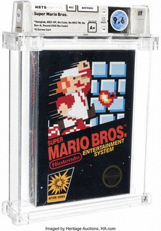 This photo provided by Heritage Auctions, shows an unopened copy of Nintendo's Super Mario Bros., purchased in 1986 and then forgotten about in a desk drawer for decades that has sold for $660,000 at auction. (Emily Clements/Heritage Auctions via AP)