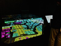A section for projection mapping introduces the evolution of the area around Kumamoto Castle, in Kumamoto's Chuo Ward, on April 6, 2021. (Mainichi/Yuki Kurisu)
