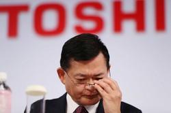 東芝の車谷暢昭社長兼最高経営責任者(CEO)=東京都港区で2018年11月8日、小川昌宏撮影