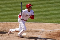 Los Angeles Angels' Shohei Ohtani grounds out during the fifth inning of a baseball game against the Houston Astros on April 6, 2021, in Anaheim, Calif. (AP Photo/Mark J. Terrill)