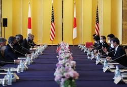 日米の外務・防衛担当閣僚会議(2プラス2)では、海洋進出を強める中国を名指しで批判する異例の共同発表をまとめた(東京都港区の外務省飯倉公館で2021年3月16日、代表撮影)